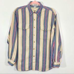 🌷Vintage | Striped Multi-Color Cotton Button Down